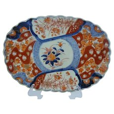 "12"" 19C  Imari Oblong Porcelain Scalloped Edge Bowl Plate ""MAGNIFICENT"""