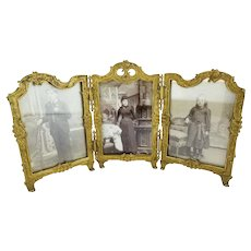 Antique French Gilt Bronze Triple Frame ~  Beautiful and Ready with Glass for Your Photos ~ A Rare Find from My Treasure Vault.