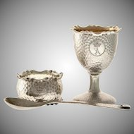 1896 Swedish Silver Christening Set from C.G Hallberg ~ Napkin Ring, Egg Cup and Spoon ~ Lovely Hand Hammered and Monogrammed