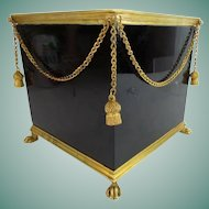 Glorious  & RARE Antique French Paw Foot Cachepot ~ Beautiful Black  Glass with Gilt Swags of Chains Draped Around the Cachepot ~ Each Corner has a Gilt Tassel ~ Cachepot has Heavy Dore' Bronze Mounts.