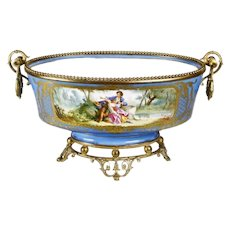 Stunning  Antique Sevres Style Blue Porcelain Double Handle Center Bowl ~ Magnificent Pastoral and Awesome Flowers ~ Exquisite Gilt Ormolu