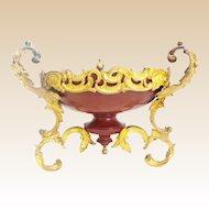Vintage Estate  French Gilt Bronze Oxblood Red Metal Bowl ~ Three  Stunning Handles ~ Beautiful Gilt Bronze