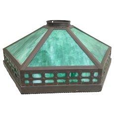 "Antique 22 ½"" Hexagon  Glass Shade ~ Charming Green Glass"