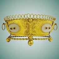 Antique Jeweled Double Handle Gilt Bronze Cachepot Jardinière   ~  Four Oval Glass Plaques with Purple Gems. ~ Very Charming