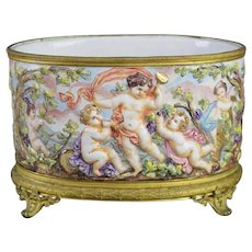 Glorious Antique Capodimonte Planter Jardinière  ~ Ornate Bronze Mounts and a Footed Base ~ Wonderful and Charming Group of Putti's
