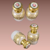 "Exquisite Palais Royal Opaline Sent Bottles~  Sevres Style Porcelain Flower Plaques ~ ""FABULOUS  PAIR! """