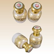 """Exquisite Palais Royal Opaline Sent Bottles~  Sevres Style Porcelain Flower Plaques ~ """"FABULOUS  PAIR! """""""