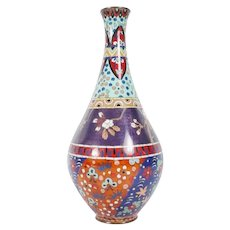 "12"" Cloisonné Enamel Vase  ~  Stunning Colors and Terrific Shape"