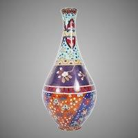 "Beautiful  12"" Cloisonné Enamel Vase ~ Stunning Colors and Terrific Shape"