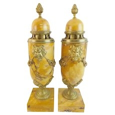 "Grandest  PAIR 17 ¼"" French Gilt Bronze Mounted Marble Urns ""Sienna Brocatelle ""Facial Rams Horned Masks Suspending Floral Swags an Acanthus Leaf Base"