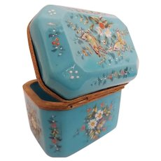 Antique French Opaline Casket Hinged Box ~ Hand Enameled Flowers and Butterflies ~ Beautiful Dome Top
