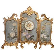 Charming Antique French Miniature Hand Painted Bronze Three Fold Screen with Clock ~ Perfect for a Doll