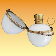 Palais Royal Opaline Egg Perfume Hinged Box Chatelaine ~  Original White Opaline Stopper ~ Finger Ring with Chain