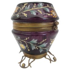 Antique Moser Purple Hand Enameled Hinged Box ~  Exquisite Foot Base ~ AS IS!