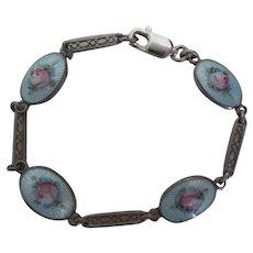 """Vintage Estate 5"""" Childs Sterling Enamel  Bracelet ~ 4  Flower Enamel  Sections ~  Stamped STERLING"""