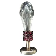 Antique French Crystal and Garnet Wax Seal ~ Silver Mounts ~ Very Fine Prong Set Garnets ~ Stunning Cut Crystal Handle