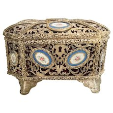 Magnificent French Dome Top Casket Hinged Box  ~ 11 Sevres Style Porcelain Plagues ~ This is a BEAUTY!
