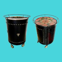 Very Rare  Vintage Black Metal Cabinet Bar  ~ Enamel Red Serving Tray ~ SUPERIOR QUALITY