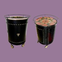 Vintage Black Metal Cabinet Bar  ~ Enamel Red Serving Tray ~ SUPERIOR QUALITY