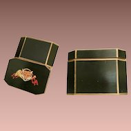 """Estate Vintage 7 ¼"""" Green Painted Hinged Box with Fox ~ A Deep Green Painted Wood Box with Gilding"""