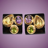 Gorgeous 14KARAT Estate Vintage Black Onyx, Amethyst, Peridot, and Citrine and Bezel Set Faceted Gemstone Earrings ~ Comfort Fit Clip Backs