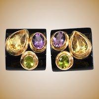 Gorgeous 14KARAT Estate Vintage Black Onyx, Amethyst, Peridot, and Citrine and Bezel Set Faceted Gemstone Earrings ~ Comfort Fit Clip Backs