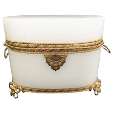 Spectacular Antique French White Opaline Double Handle Casket Hinged Box ~ Beautiful Ornate Gilt Mount ~ Fancy Bow Footed Base