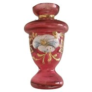 Antique Miniature Moser Cranberry Vase ~ Lovely Hand Enamel  ~ Stunning Shape  ~ A Little GEM from My Treasure Vault