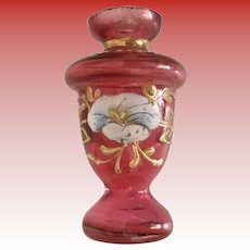 Antique Miniature Moser Cranberry Vase ~ Lovely Hand Enamel  ~ Stunning Shape  ~ A Little GEM from My Treasure Vault
