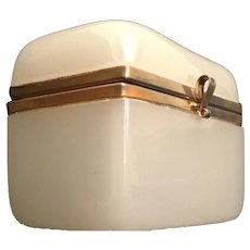 Antique French White Opaline Hinged Box Casket ~ Pretty White  Opaline With Smooth Mounts and S Clasp