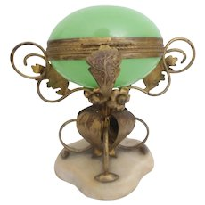 """9"""" Palais Royal Green Opaline Egg Hinge Box~ MASSIVE and Exquisite Gilt Ormolu Flowers and Leaves Resting on a Large Alabaster Plinth ~ AS IS!"""