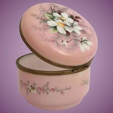 """5"""" Antique French Hand painted  Pink Opaline Casket Hinged Box ~ Smooth Gilt Mounts and S Clasp"""