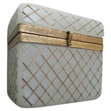 Antique White  Opaline Casket Hinged Box~ Deep Cut Pattern Opaline in a Diamond Crisscross Cut Design