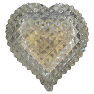 "Stunning Cut Crystal Hinged Box ""HEART SHAPE""  ~ Fancy Gilt Mounts"