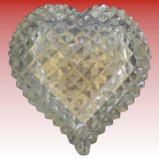 "Stunning Cut Crystal Hinged Box ""HEART SHAPE""  ~ Fancy Gilt Mounts"