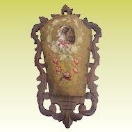 "Antique 22 "" King Charles Spaniel Beaded Needlepoint Carved Walnut Wall Pocket"