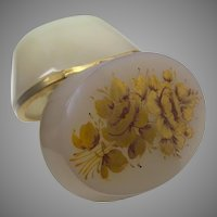 Antique French Ecru  Oval Opaline Hinged Box ~ Pretty Smooth Gilt Mounts ~ Lovely Gold Flower Top and Front ~ Wonderful Gilding