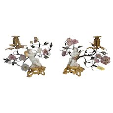 "Pair Antique French Porcelain Winged Cherubs ""Meissen Style""  Porcelain Flowers  Candelabra ~ Cherub Resting on a Gilt Plinth with a Musical Instrument ~ Metal Branches of Porcelain Flowers"