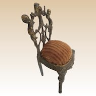 Precious Antique Miniature French Bronze Chair Watch Holder Jewelry Holder ~  #1  ~  Very Ornate Bronze Chair with a Hook to Hold Your Prize Pocket Watch OR A Special Piece of Jewelry