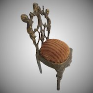 Precious Antique Miniature French Bronze Chair Watch Holder