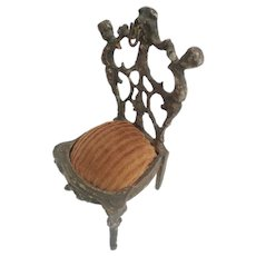 Precious Antique Miniature French Bronze Chair Watch Holder  ~ #2