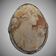 """1 ¾"""" Carved Natural Shell Cameo Brooch Pendant ~  Pretty White Metal Ornate Frame ~  Well Carving  Raised Profile w Stunning  Features"""