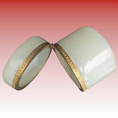 Pretty Antique White Opaline Round Casket Hinged Box ~ Very Ornate Gilt Mounts