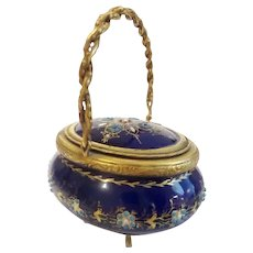 Miniature Antique French Jeweled Sevres Kiln-fired Enamel Hinged Box ~ Glorious Rope Handle Hinged Box ~  Exquisite Cobalt Color and Covered in Little Tiny Gems Resting on Four Little Legs.