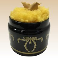 P.V. France Black Glass Jar w BIG Puff ~Wonderful Gold Swags, Garlands,  and Bows that Circles the Jar