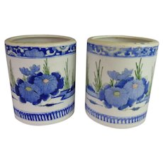 STUNNING  Japanese  Porcelain Hibachis ~  Beautiful Blue White and Yellow Flowers Green Leaves ~ PAIR