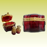 Antique French Red Double Handles Scent Casket ~   Exquisite Ormolu Fitted Interior Holds Twin Scent Bottles with Eglomise Tops and Lace Collars.