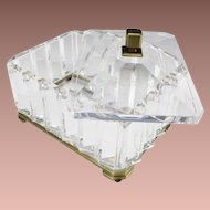 BIG French Crystal Casket Hinged Box ~ Beautiful Very Fine Crystal and Bronze Mounts Prism Faceted Sides with Scissor Cut Slightly Domed Top ~  Bronze Base with Ogee Feet