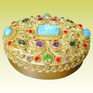 Antique Jeweled Austrian Oval Box. WOW! Covered in GEMS ~ Exquisite Gems!  ~ BEAUTIFUL QUALITY