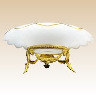 "12 ½"" Antique French White Opaline Center Bowl with the Grandest Gilt Ormolu ~ Crisp White Opaline Scalloped Edge with 3/8"" Fabulous Gilding ~ Medallion in the Center Circled in Gilding"
